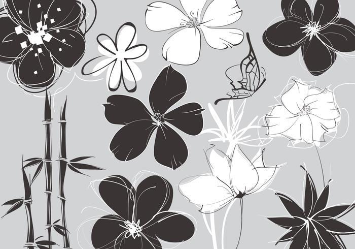 Schetsmatige bloemenpenseelpakketten