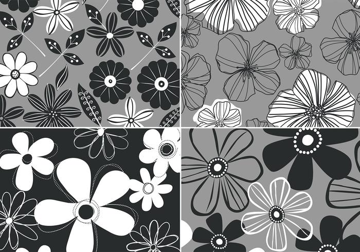Black and White Retro Floral Background Four Pack