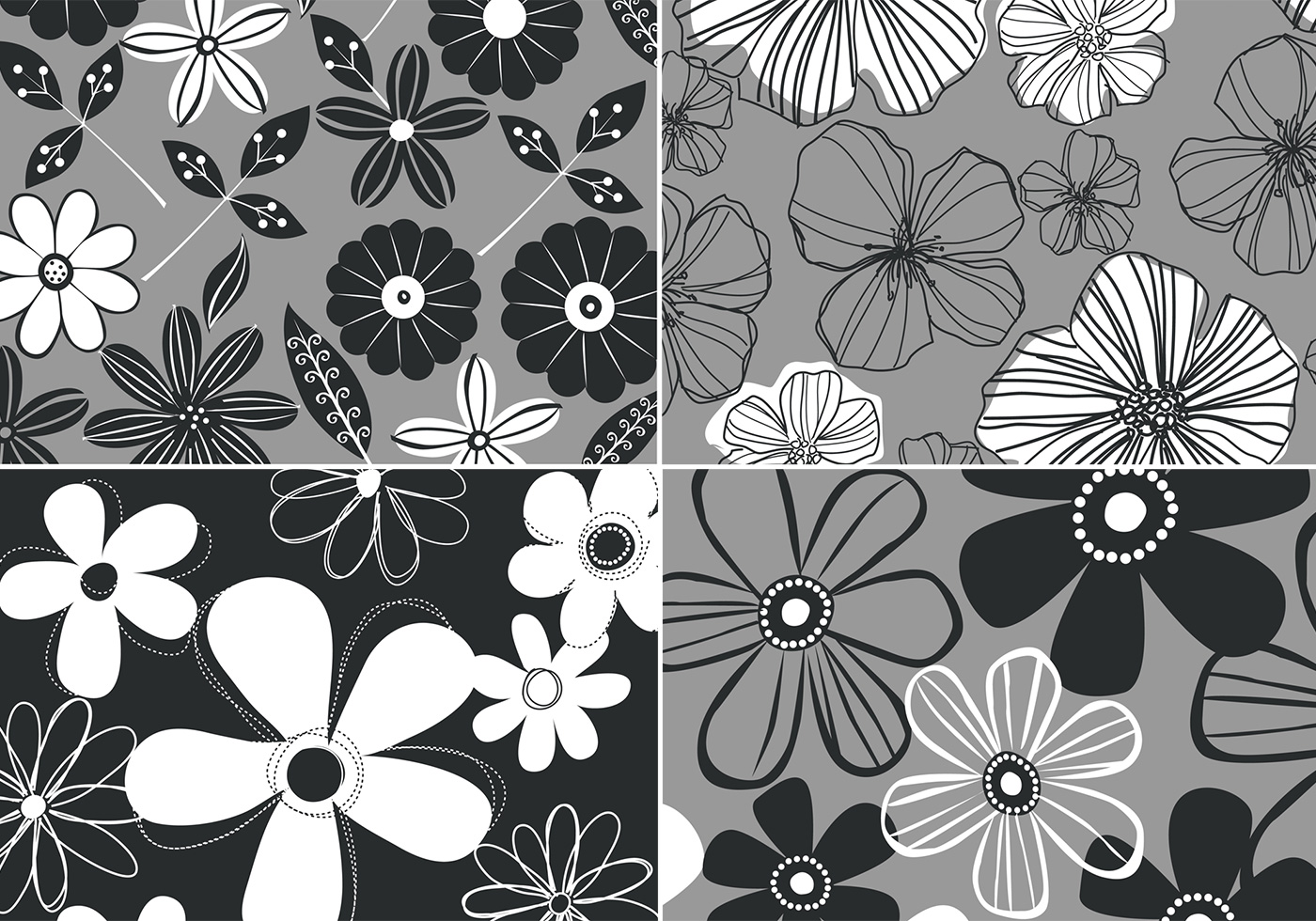 black and white retro floral background four pack free photoshop brushes at brusheezy - Floral Backgrounds