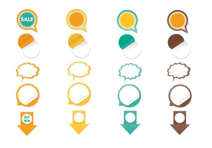 Conjunto de elementos de cepillo de la etiqueta engomada del Web