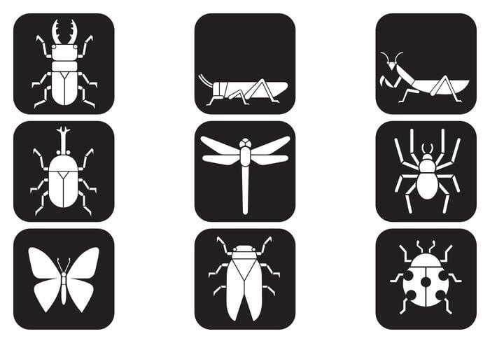 Pacote de ícones de pinceles de insetos