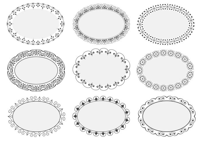 Decorative Oval Frame Brushes Pack