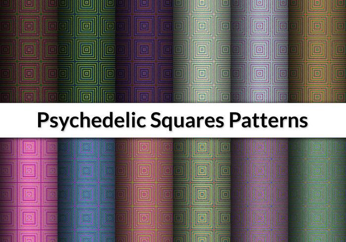 12 motifs de carrés psychédéliques