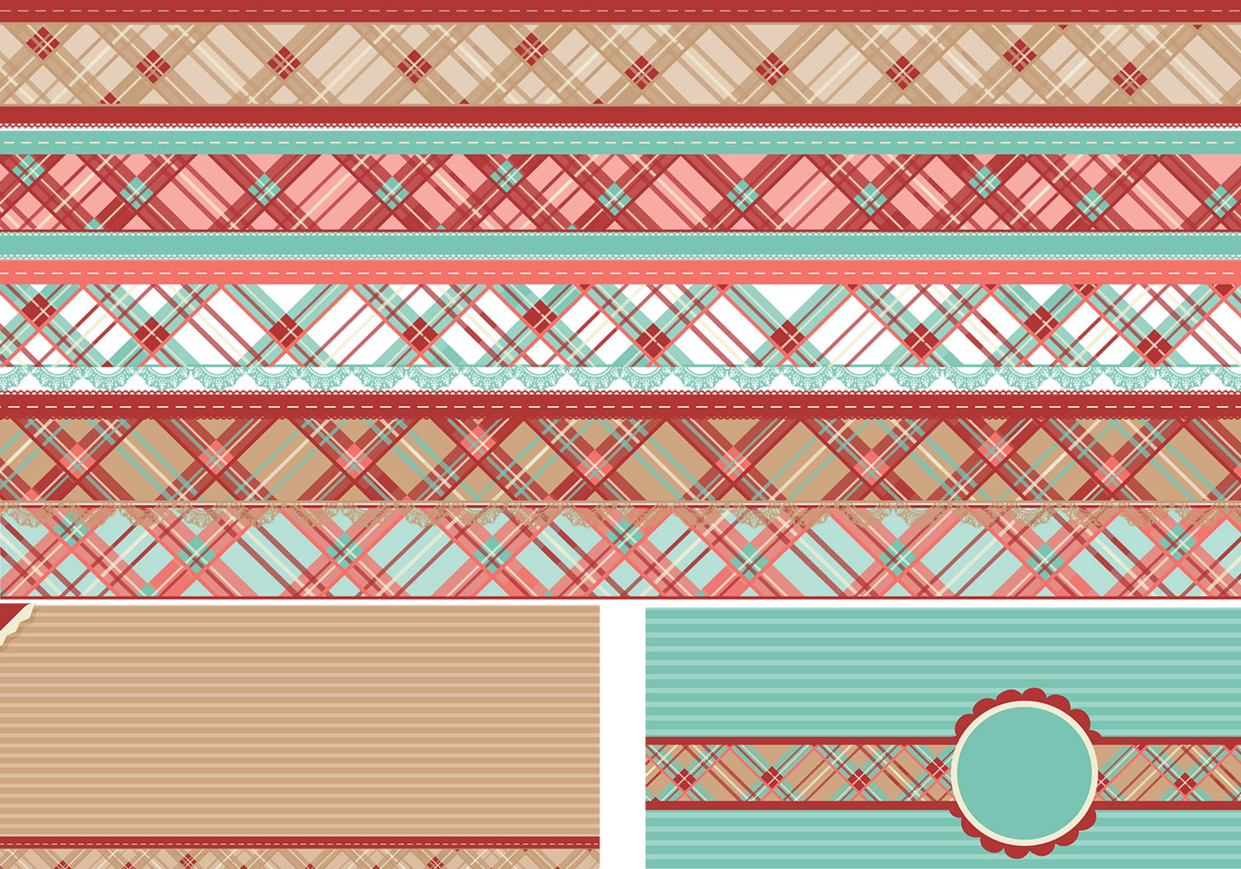 Plaid Border Brushes And Backgrounds Pack Free Photoshop