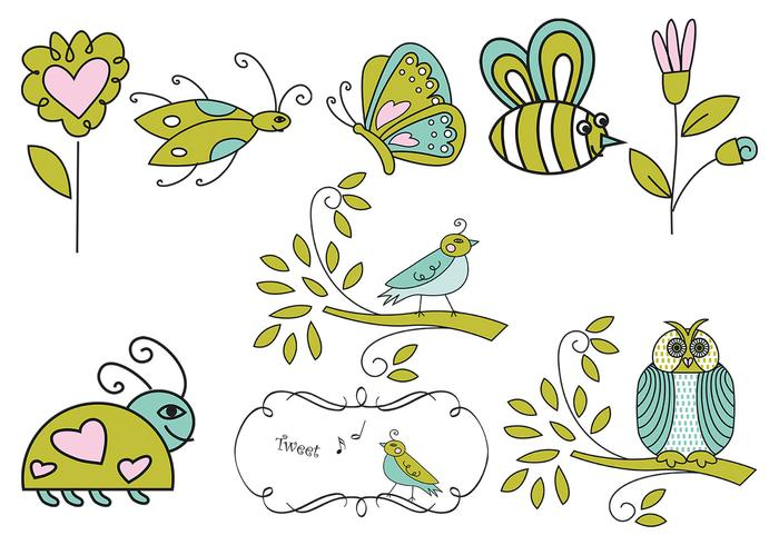 Hand Drawn Insect, Flower, and Bird Brushes
