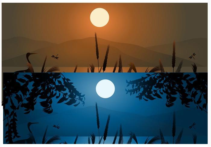 Achtergrond van Tarwe en Berg Zonsondergang