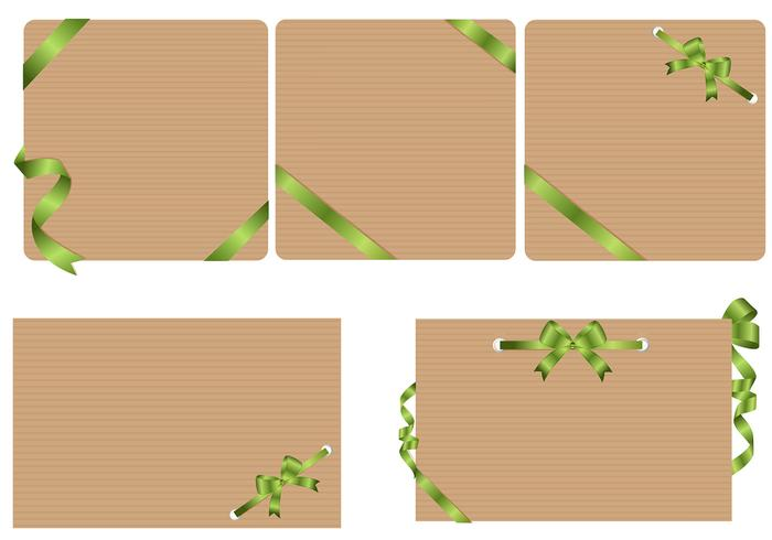 Craft Paper Backgrounds with Green Ribbons