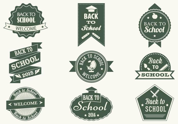 Vintage Back to School Brush Labels en PSD Pack