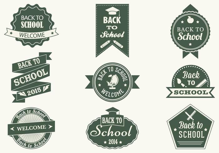 Vintage de nuevo a las etiquetas del cepillo de la escuela y paquete de PSD