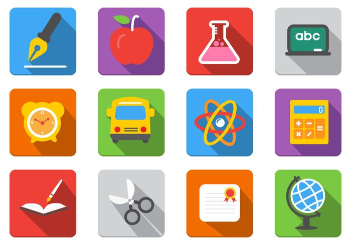 Flat Education PSD Icons Pack