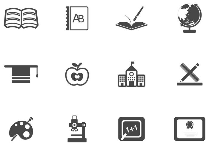 Simple School Brush Icons and PSD Pack