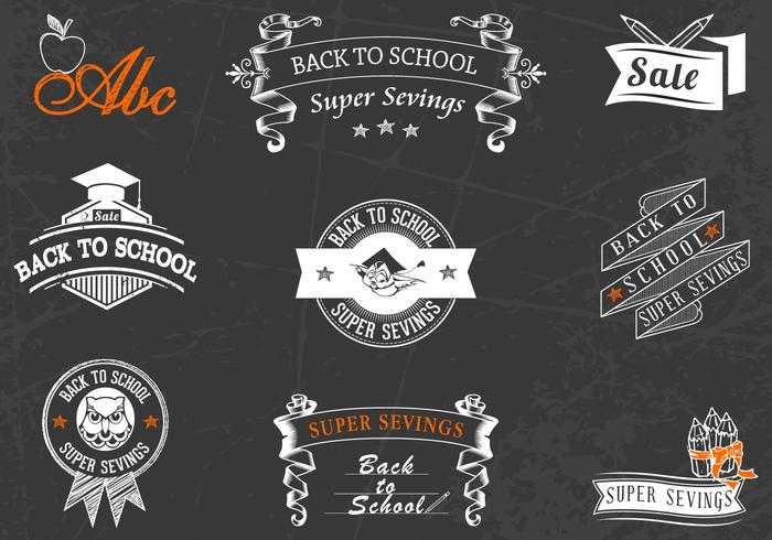 Back to School Chalkboard Badges Brushes e PSD Pack