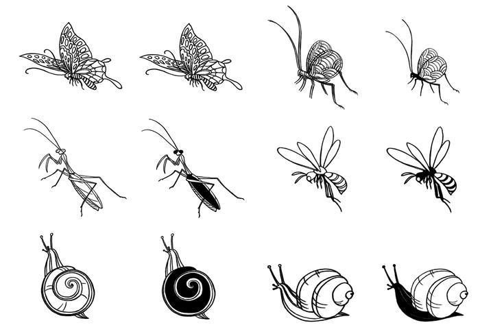 Ensemble de brosses à insectes dessinés à la main