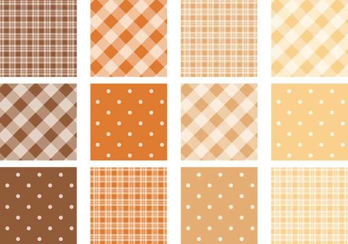 Fallfarbenes Plaid und Polka Dot Pattern Pack