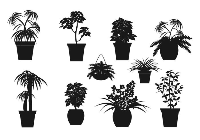 Potted Plant Brush Silhouettes Pack