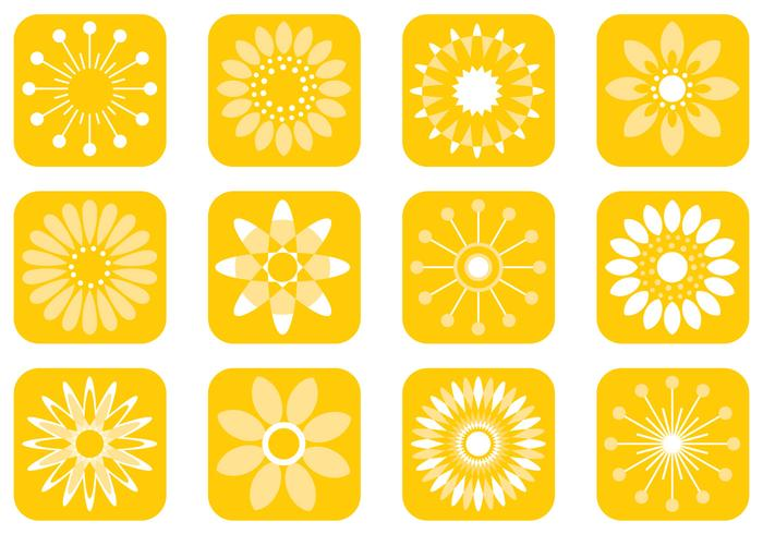 Abstract Sunny Flower Brushes Pack