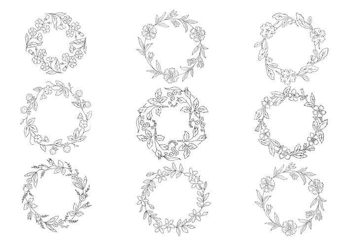 Hand Drawn Wreath Brushes Pack