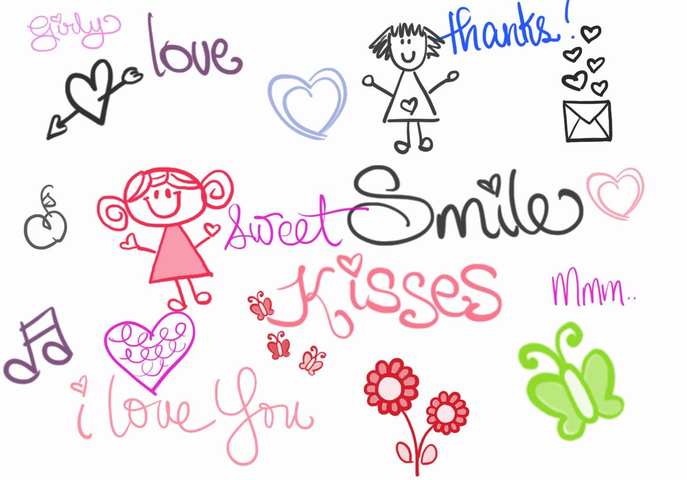 Cute Girly Doodle Brushes Free Photoshop Brushes At