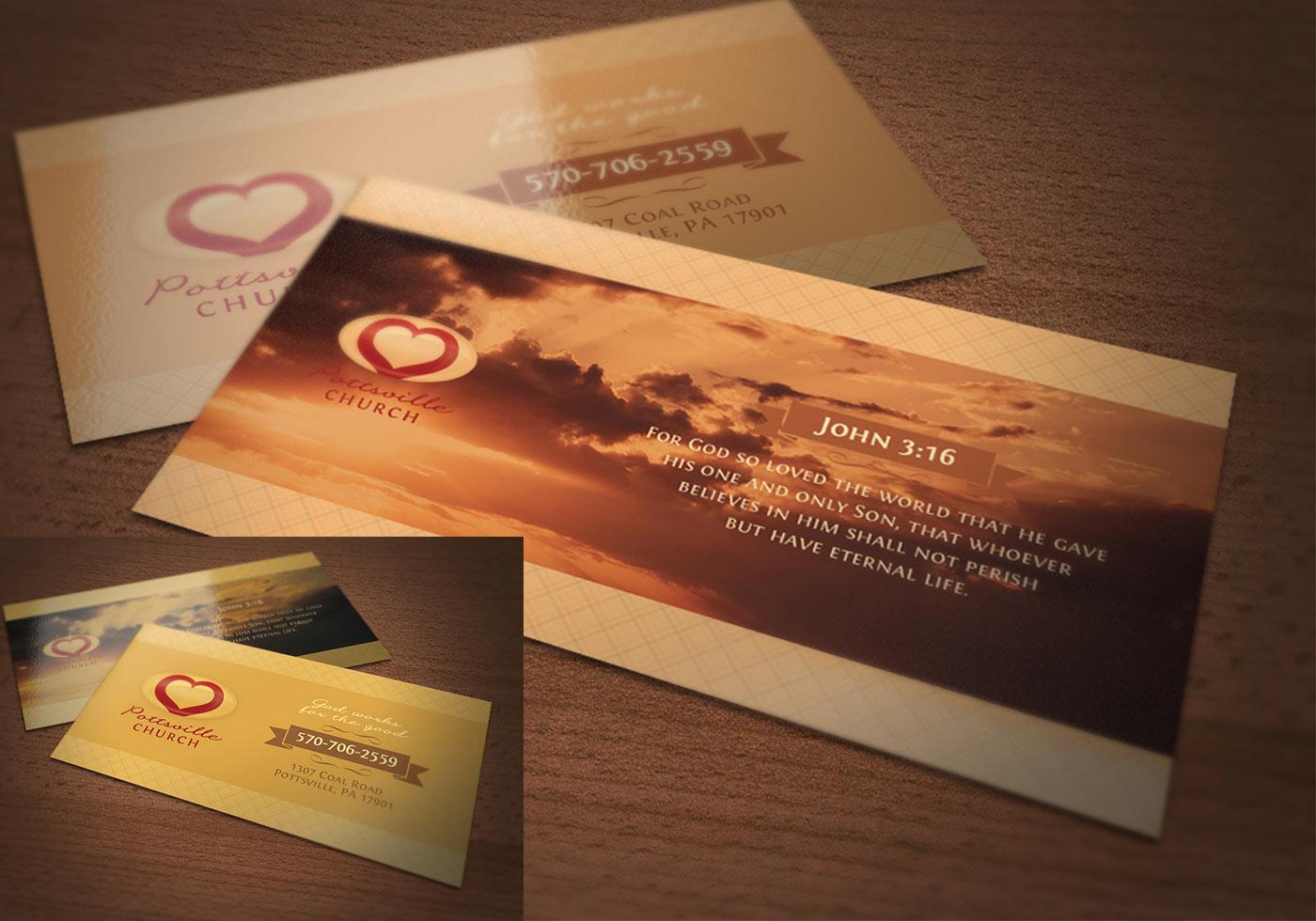 golden church business card psd template