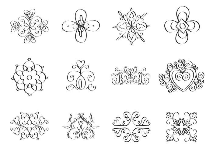 Paquete de cepillo de ornamento de Doodle