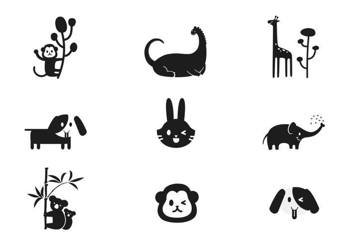 Simple dibujos animados cepillos de animales Pack