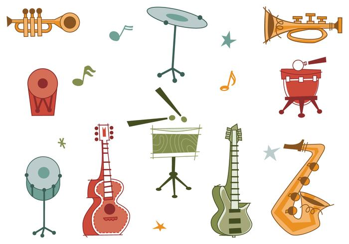 Retro musical instrument brushes pack