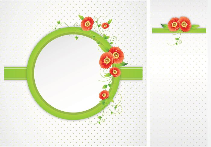Green Polka Dotted Poppy Frame Background Pack