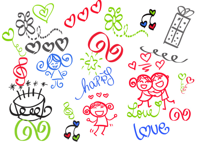 Gelukkig Girly Girl Love Doodles Brush Set
