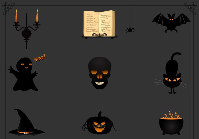 Schwarzes Halloween Icon PSD Pack