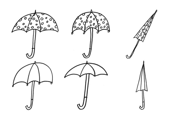 Paraply Rain Drops Doodles Brush Set