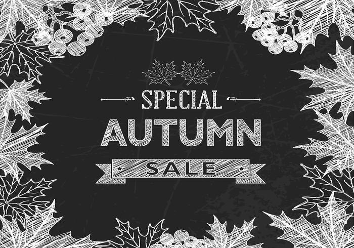 Chalk Drawn Autumn Sale PSD Background