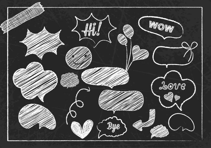 Chalk Drawn Speech Bubble and Doodle Brush and PSD Pack