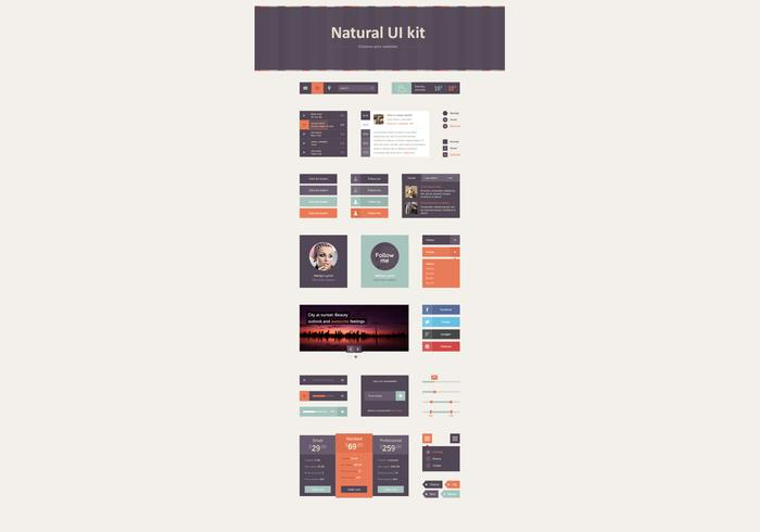 Natural Fall Gekleurde UI PSD Kit