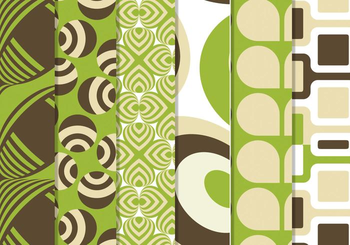Grön Retro Funky Pattern Pack
