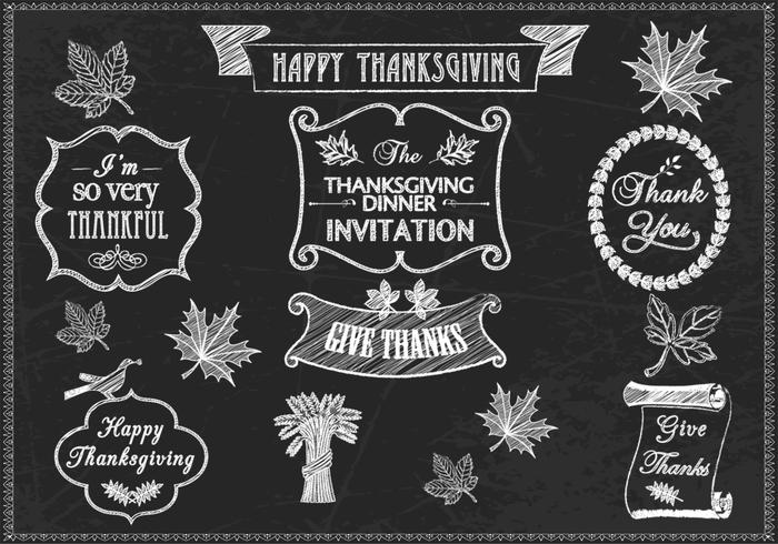 Chalk Drawn Thanksgiving Brushes and PSD Pack