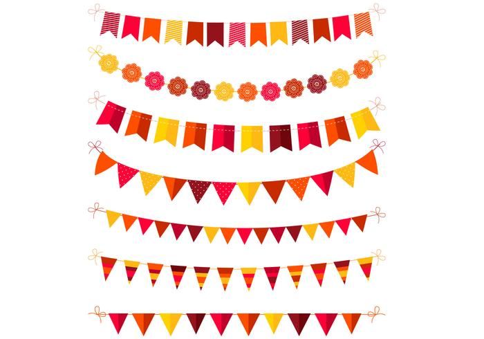 Autumn Colored Bunting PSD Pack
