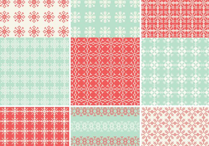 Pixelated Snowflake Pattern Pack