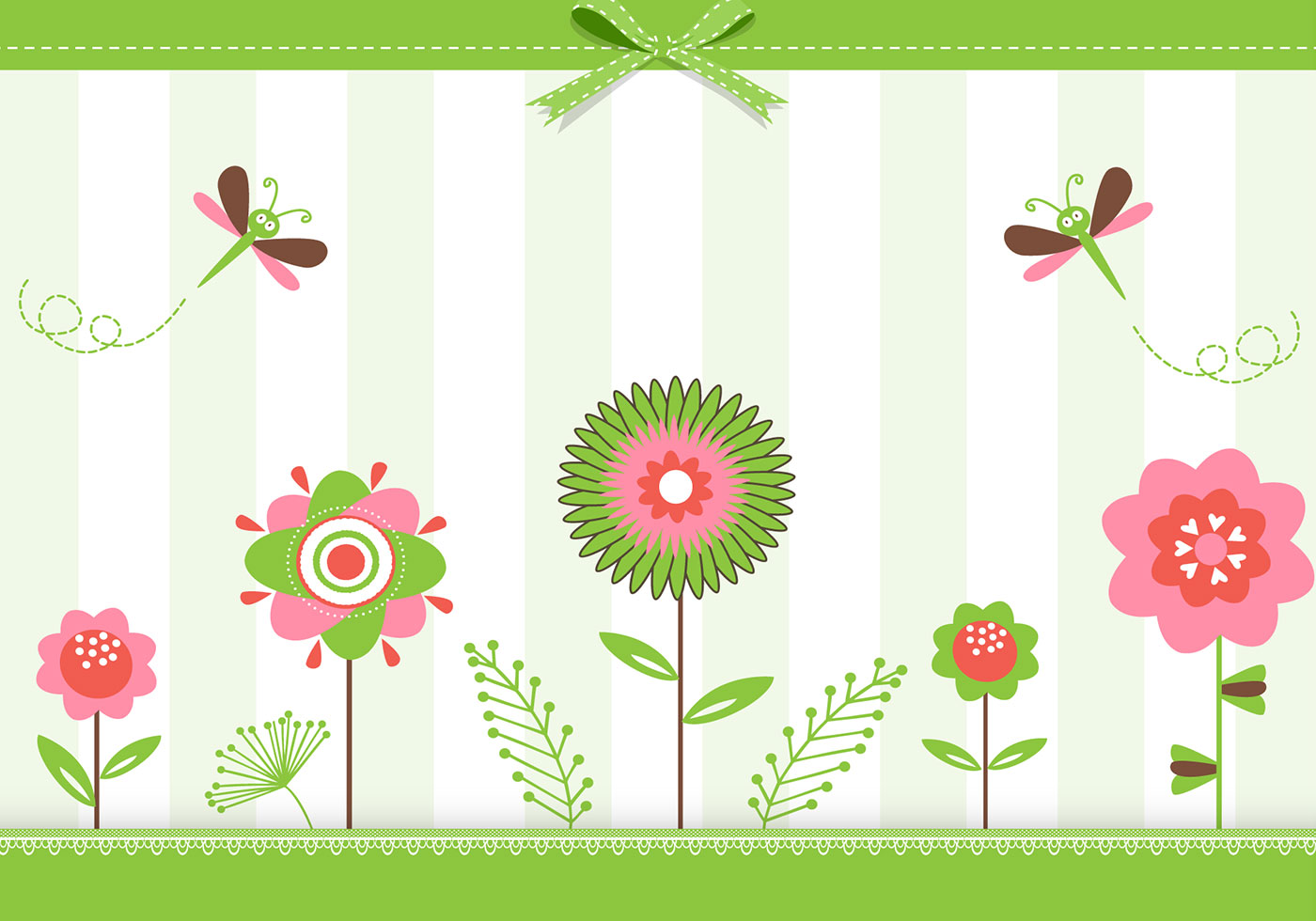 Green Floral Greeting Card Background