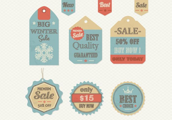 Wintery Retro Sale Tag PSD Pack