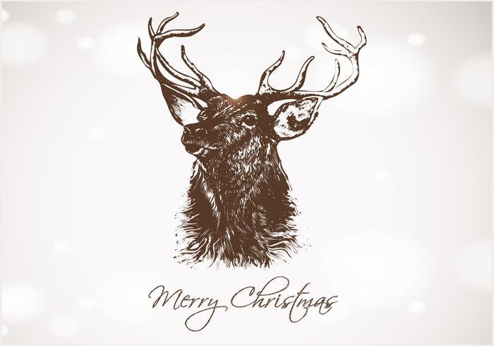 Bokeh dibujado a mano de ciervo de Navidad PSD de fondo