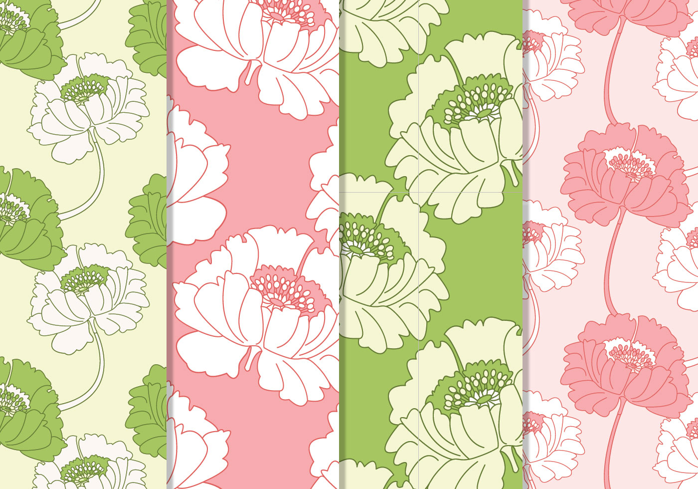 Seamless Pink And Green Floral Patterns Free Photoshop Brushes At Brusheezy