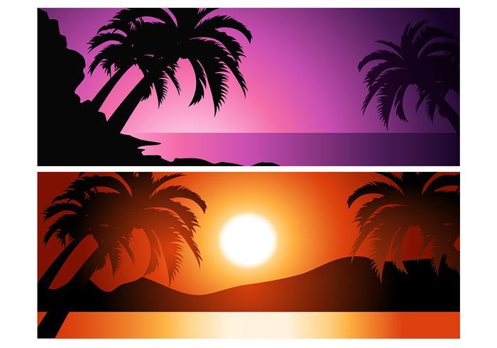 Paquete tropical del fondo de la puesta del sol