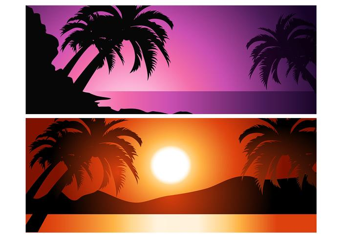 Tropische Zonsondergang Achtergrond Pak