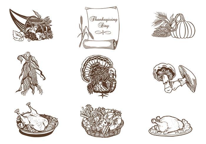 Pacote de pincel de ação de graças desenhado mão