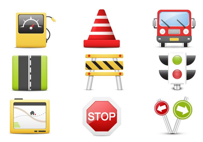 3D Traffic PSD Icons