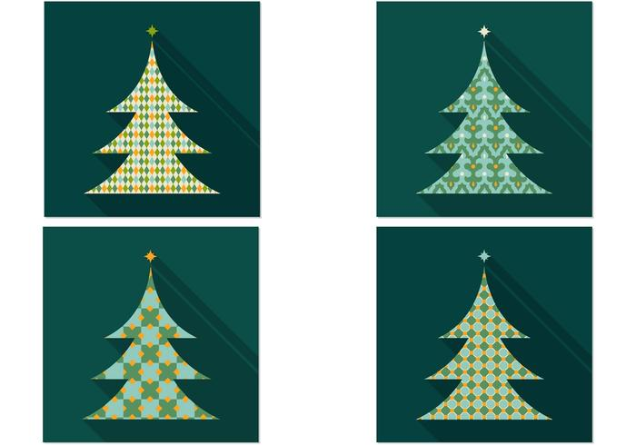 Retro Patterned Weihnachtsbaum PSD Pack