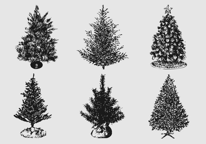 Silhouetted Christmas Tree Brushes e PSD Pack