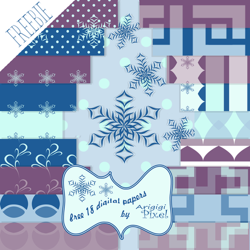 Winter Background Digital Paper Pack - set of 18