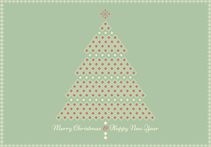 Retro Geometric Christmas Tree Greeting Card PSD