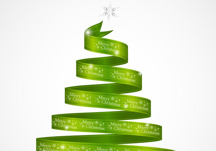 Green Ribbon Christmas Tree PSD